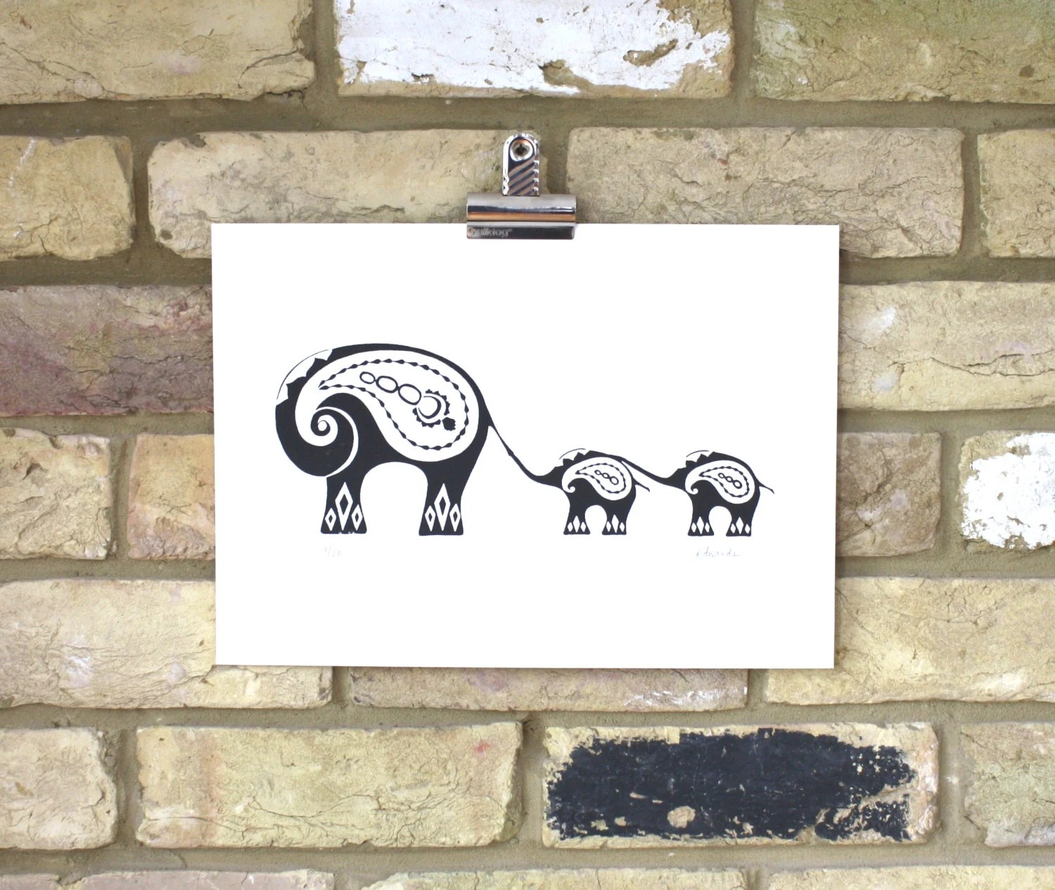 Elephant print Indian Elephants (Limited edition screenprint 25 x 35cm) - print121