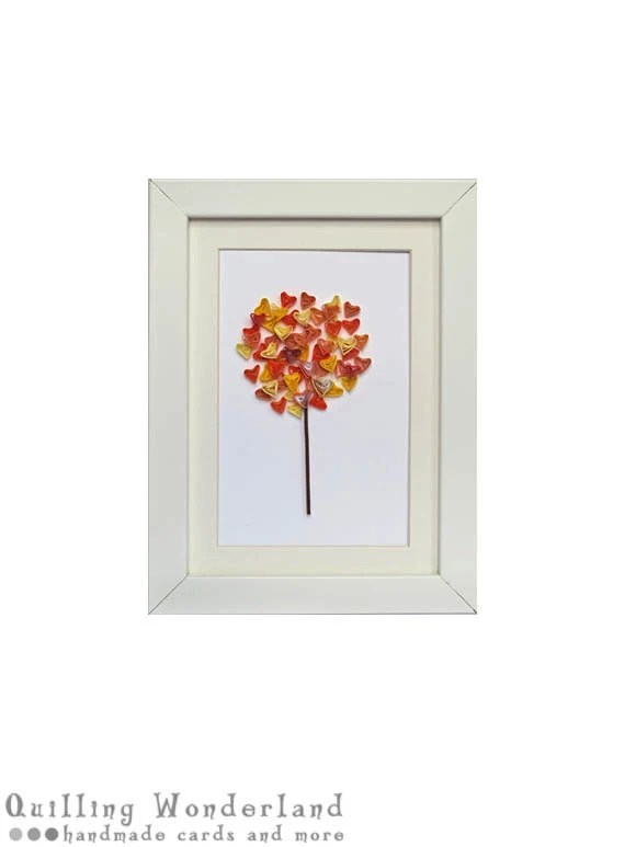 Yellow Red Fall tree picture - paper quilling, home decor, nursery