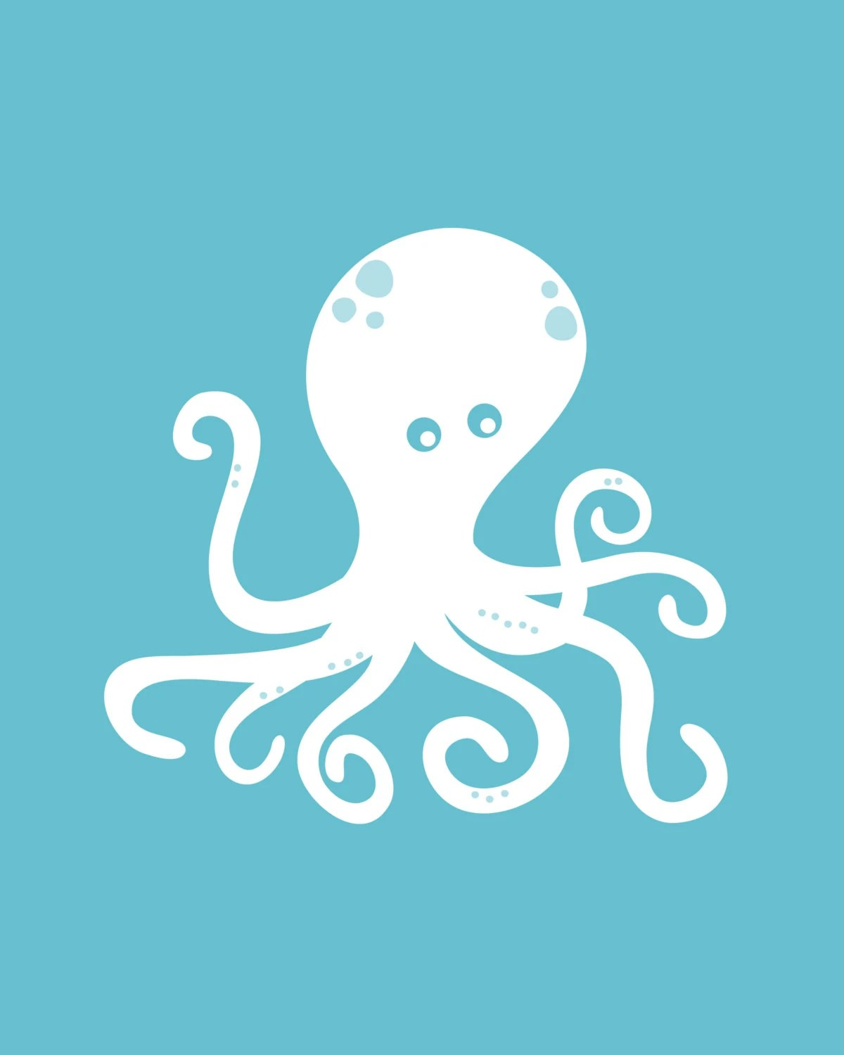 Turquoise Octopus Print 8 5x11 Digital Download