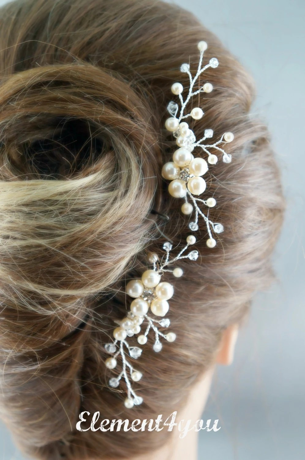 Bridal Comb Wedding Hair Comb Set Of 2 Ivory Pearls Hair