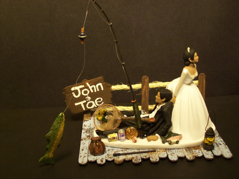 Got The Pole No FISHING Funny Wedding Cake Topper W Boat