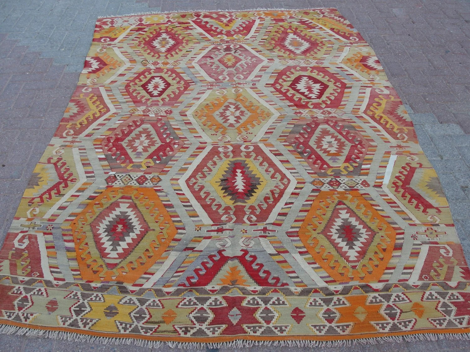 "VINTAGE Turkish Area Rug Carpet, Antalya Rug Kilim,Daimond Design, Natural Wool 70"" X 109"" - misterpillow"
