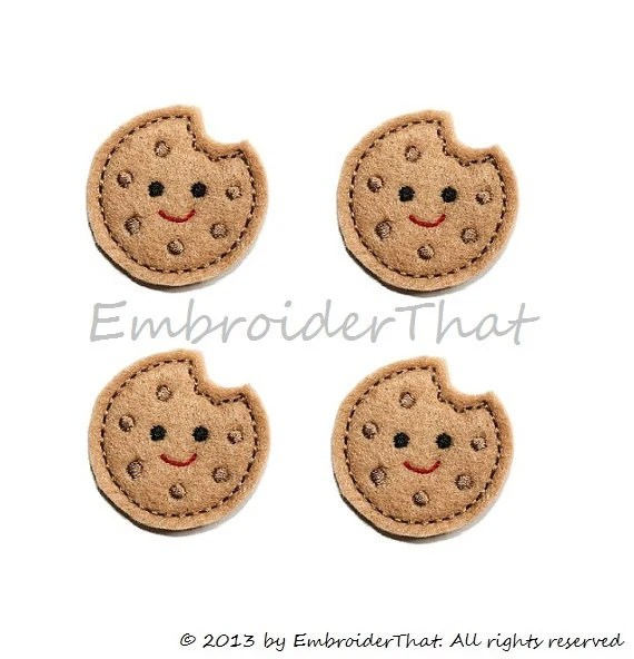 Cute chocolate Chip Cookie applique embellishment felties hair bow center (4) - EmbroiderThat
