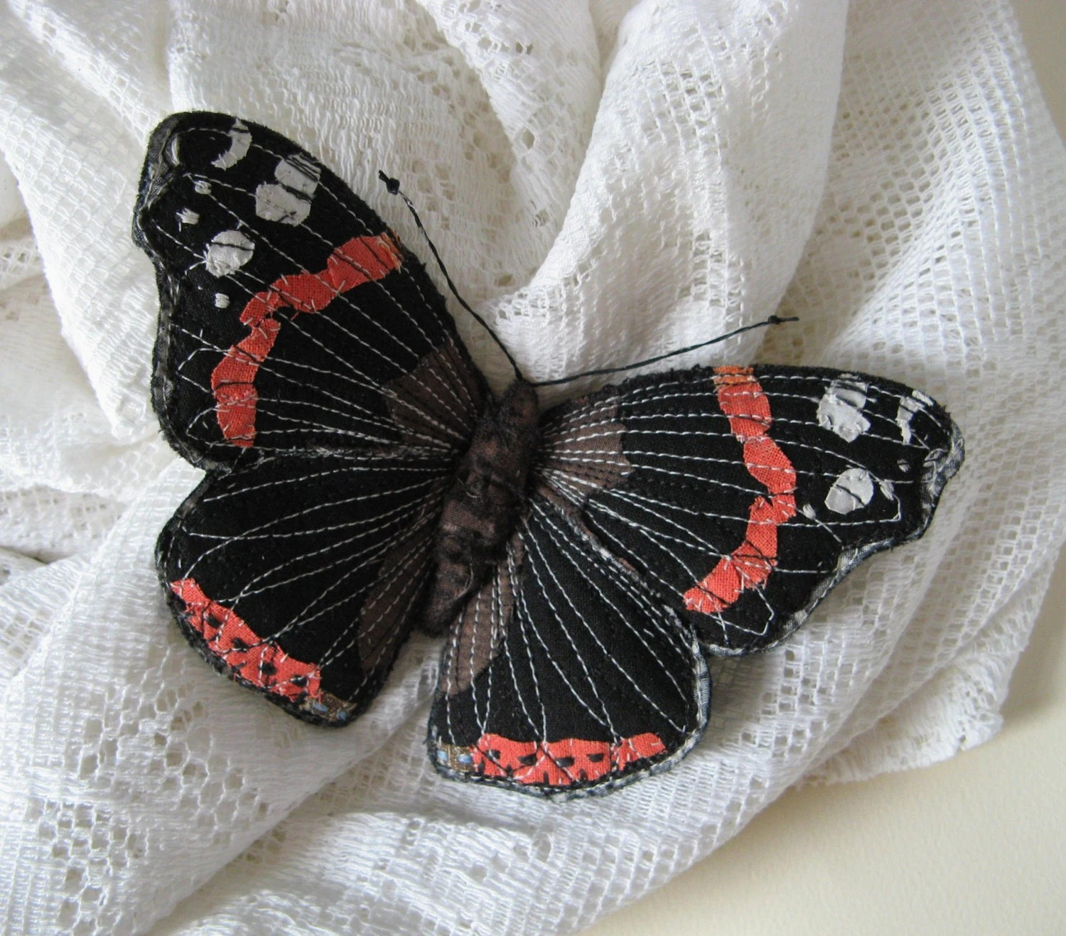 Embroidered butterfly brooch, 'Red Admiral', textile art, soft sculpture, cottage chic