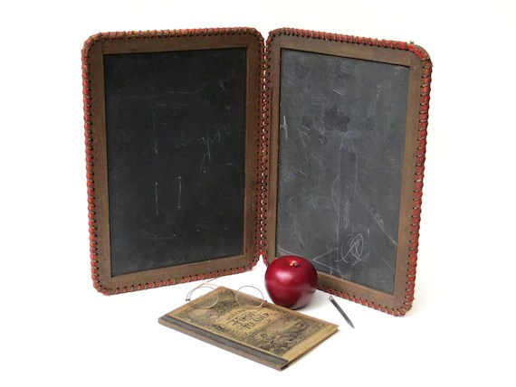 "Ornate Antique Victorian Folding Double Sided Slate Chalkboard with Original ""Slate Pencil"""