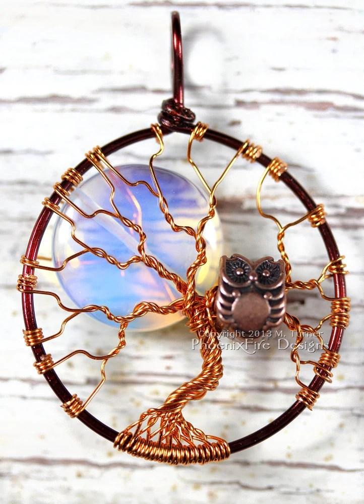 Full Moon Owl Tree Of Life Pendant Opalite Rainbow Moonstone