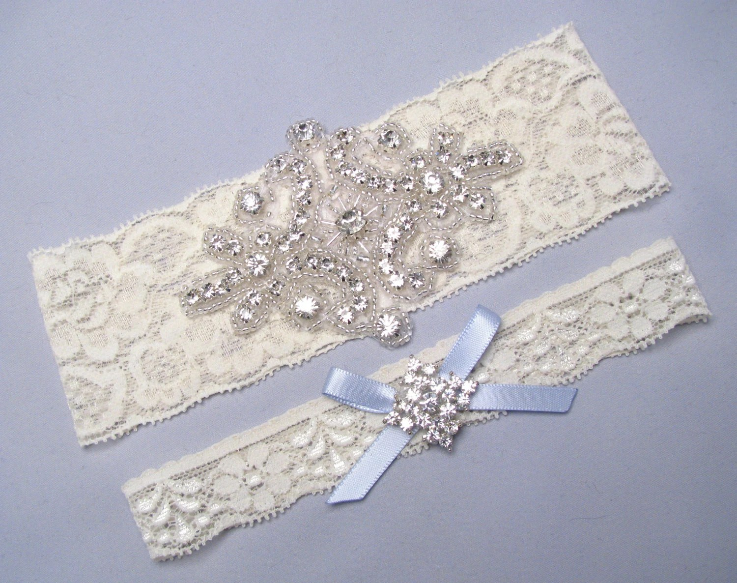 Wedding Garter Bridal Garter Set Ivory Lace By