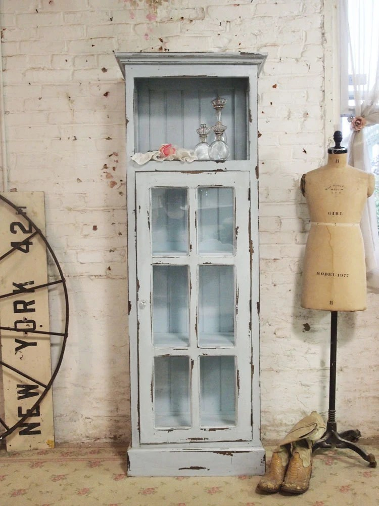 Painted Cottage Chic Shabby Chateau Farmhouse Linen Cabinet