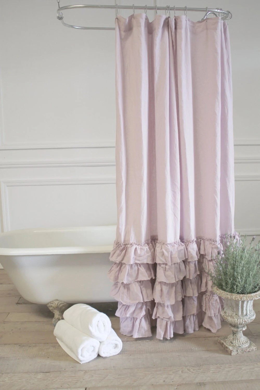 Sofia Pink Linen Ruffle Shower Curtain