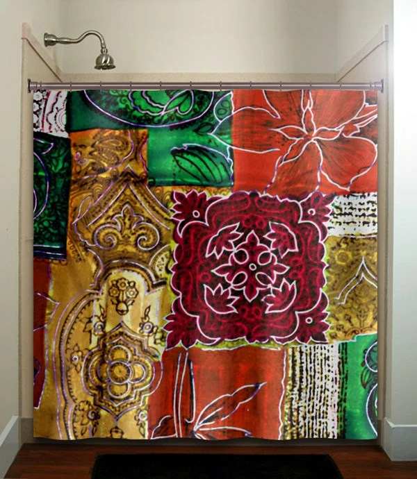 Ancient Persian Art Red Orange Green Gold Shower Curtain