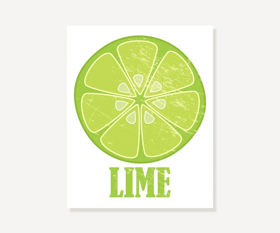 Vintage Look Lime Slice Art Print 11x14, 8x10 or 5x7 Digital Illustration Print by ColorBee - colorbee