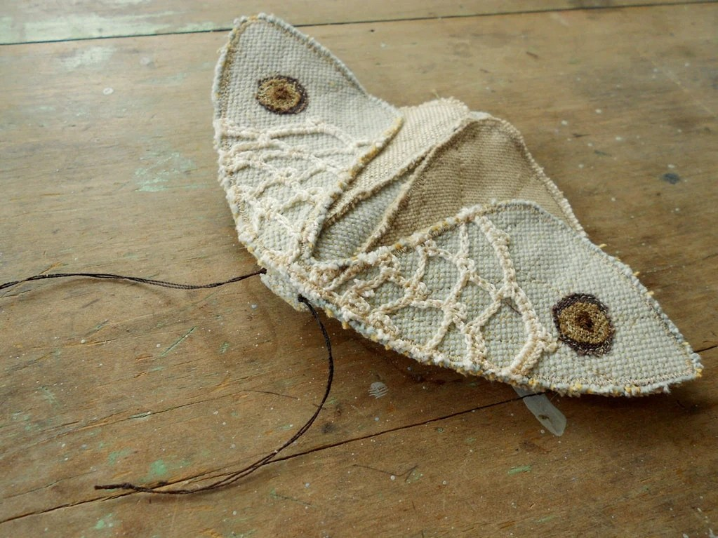 Large textile moth / pale blue with lace / upcycled fabric / brooch pin