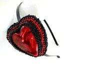 Heart Headband Beaded in Red and Black - MegansBeadedDesigns