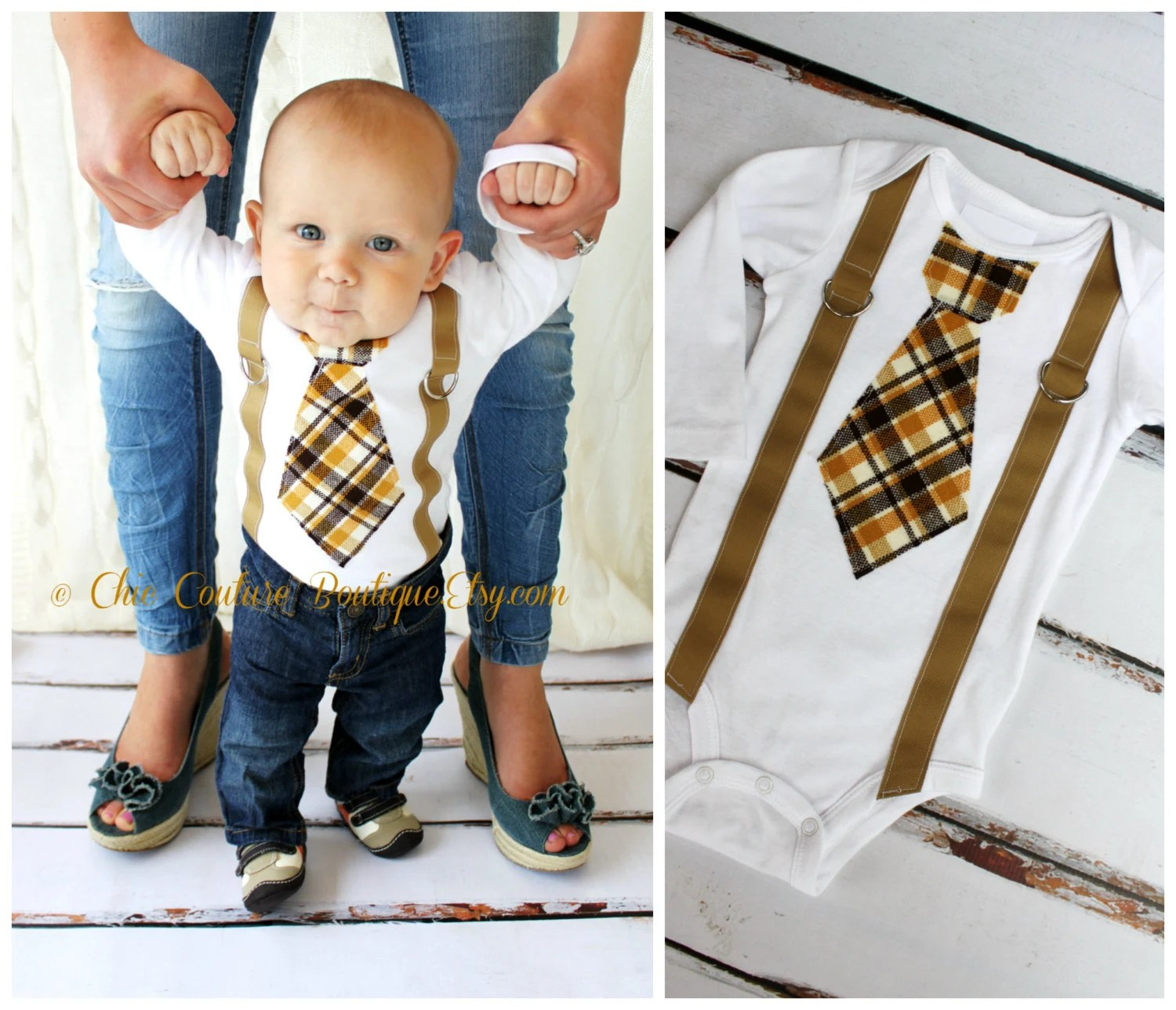 Fathers Day Baby Boy Tie And Suspenders Bodysuit 1st