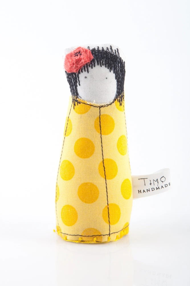 Little girl with black hair Wearing  yellow dress with Polka Dots and pink hair flower -handmade fabric doll ,Can be part of family portrai