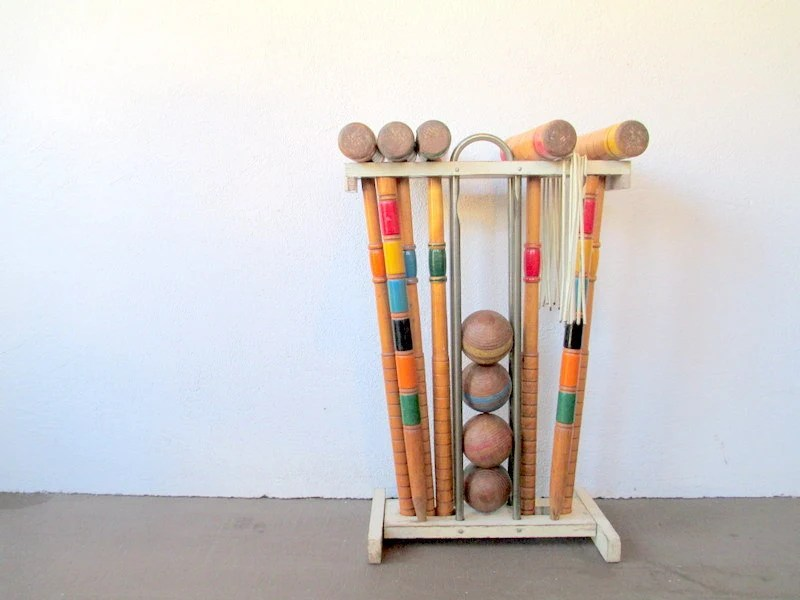 1940s Wood Croquet Set With Stand, Vintage Lawn Games For