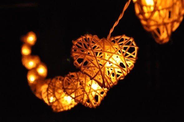 35 Bulbs White Love Rattan Heart string lights for   Etsy image 0