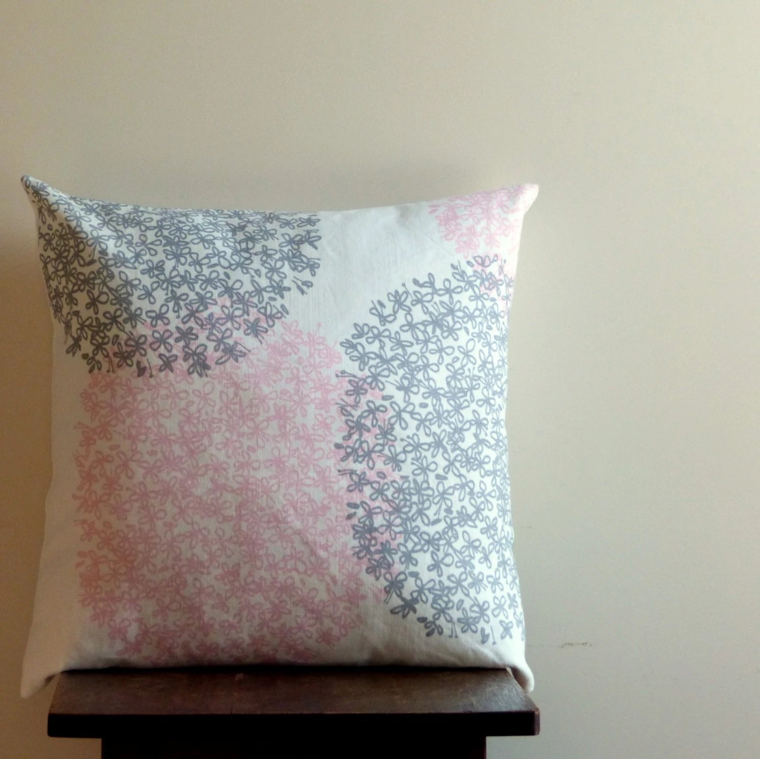 Linen Pillow Cover, Pink Grey White Flowered Throw Pillow Cover, Pastel Nursery Decor, Invisible Zipper, Fits 20 x 20 - LilaKids