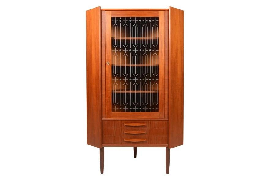 Danish Mid Century Modern Corner Cabinet Bar In Teak