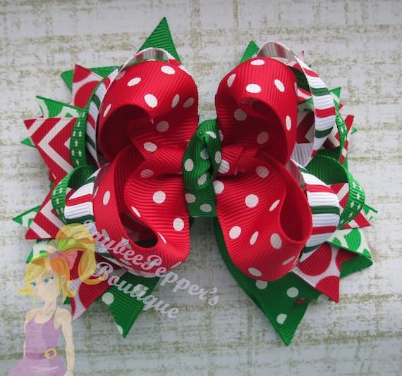 Christmas Hair Bow Chevron Holiday Hair Clip Over The Top