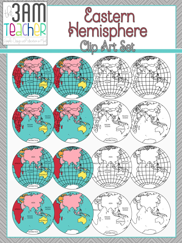 World Maps Clip Art Eastern Hemisphere Globe Set