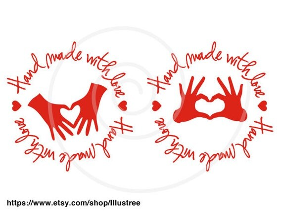 Download Hand made with love, red heart, handmade, digital clip art ...