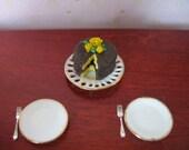 Miniature Cake Set with Porcelain Plates & Flatware - ManyAFineFaerieThing