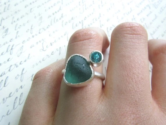 Teal Sea Glass and Aqua Swarovski Crystal Sterling Silver Ring size 7