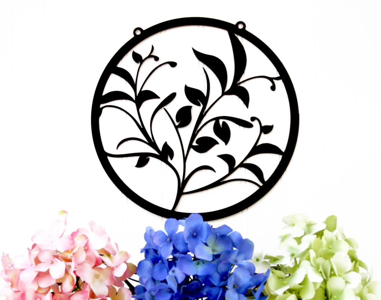 Garden Flower Metal Wall Art Black 11x11 Garden Gift
