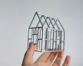 Metallic birch wood framework - silver geometric architecture - small structures - 3D line drawing - 2of2