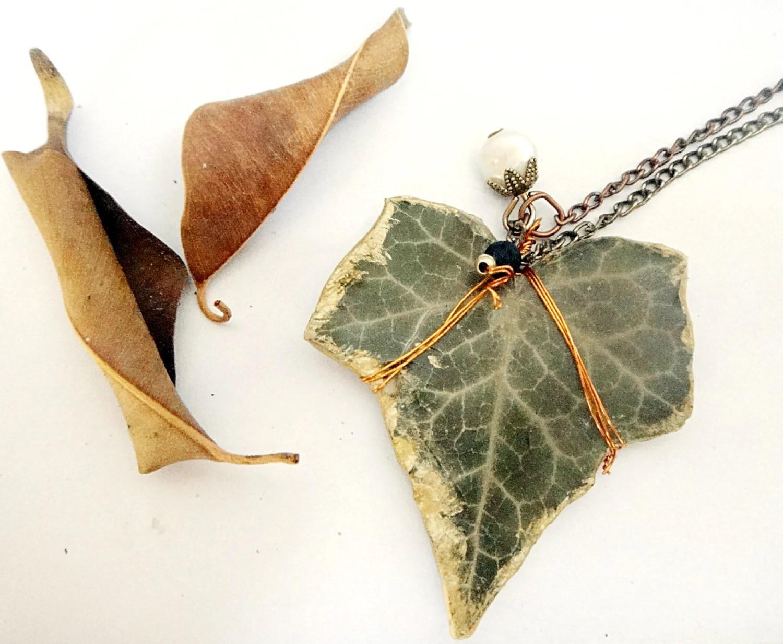Woodland Ivy Leaf Pendant, Elegant, Chic Nature Inspired, Pressed Leaf, Uniue Jewelry - JeanneMarieDel