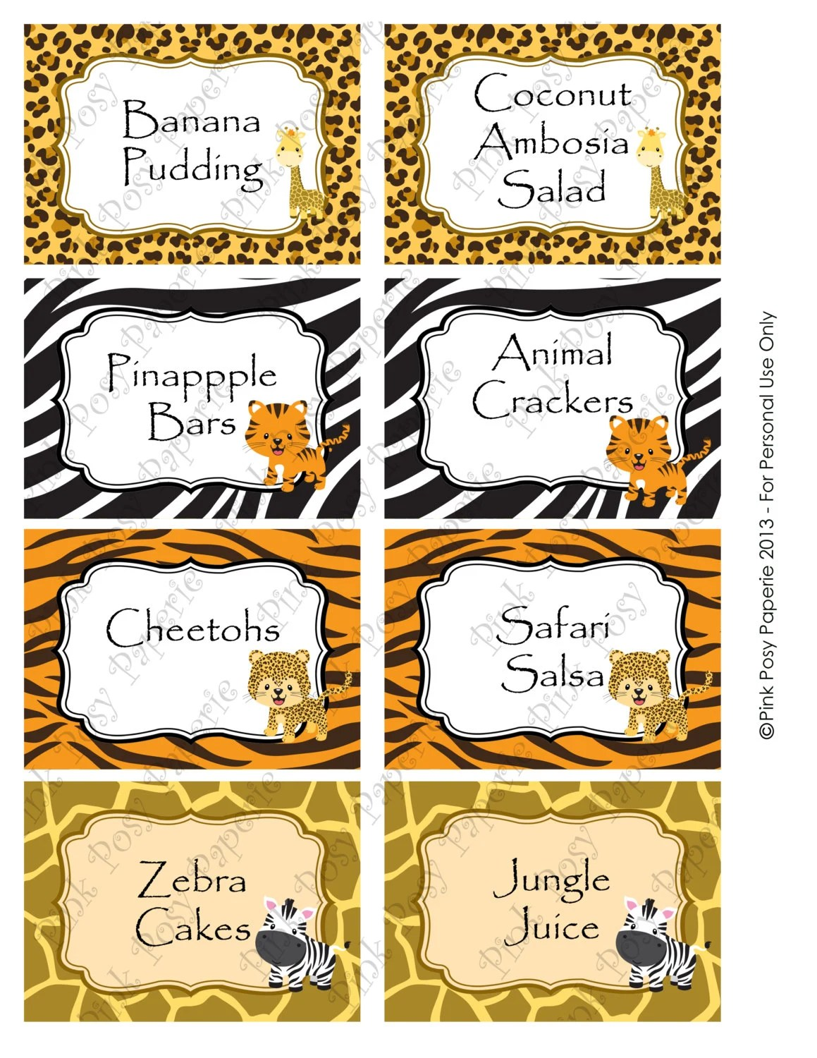 Printable Safari Baby Shower Food Labels