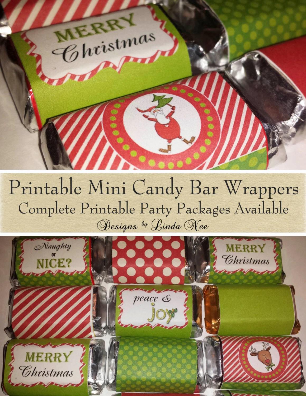 Candy Bar Wrappers Santa Christmas Mini Hershey Bar Candy