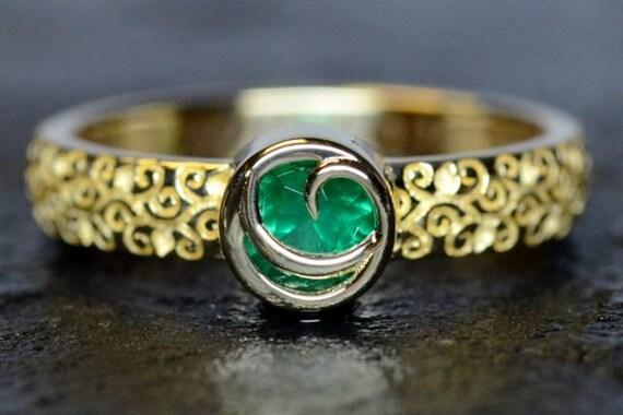 Items Similar To Kokiri Emerald Zelda Game Inspired Engagement Ring 14k Yellow Gold Set With