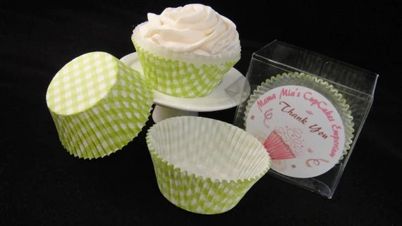 Bright Green Gingham Plaid Cupcake Liners