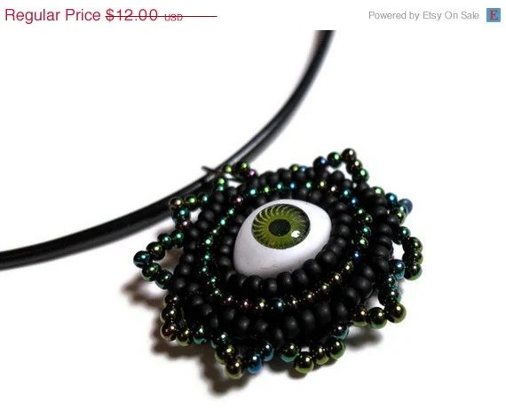 Spring Clearance - Evil Eye Black and Green Pendant Necklace on a Black Cord with Green and Black Beads - MegansBeadedDesigns