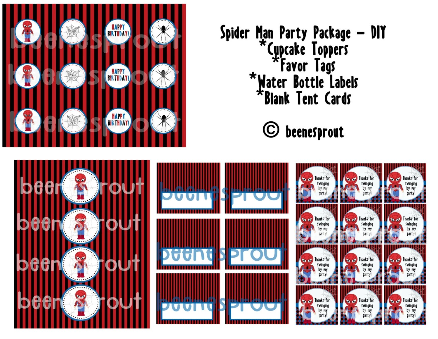 Instant Download Spider Man Party Printables Diy
