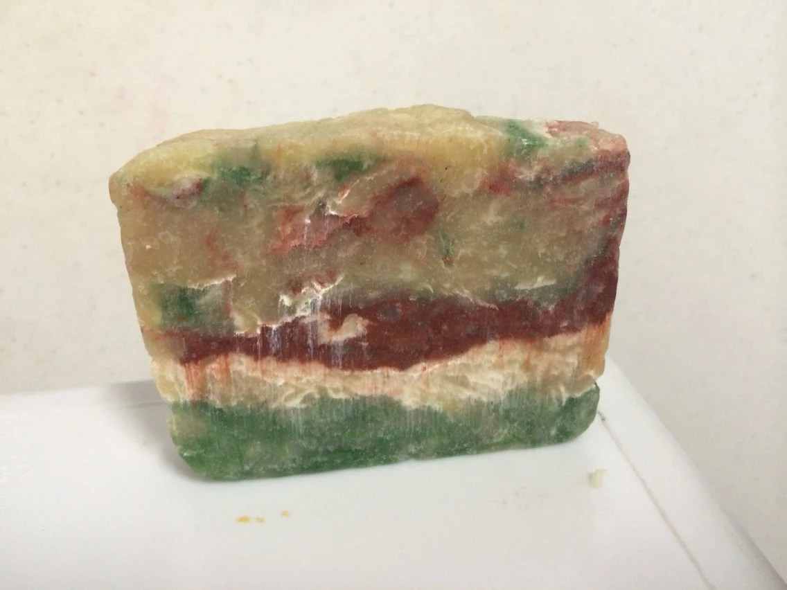 Green - Red - White - Soap - Feliz Navidad - Merry Christmas - holidays - Christmas soap - hot process soap - JDNatladysCreations
