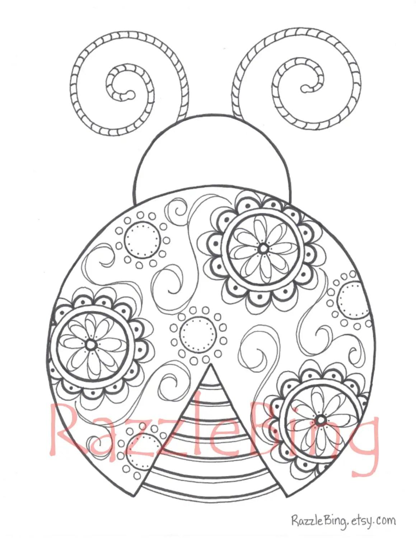 Diy Printable Coloring Page Zentangle Inspired Lady Bug
