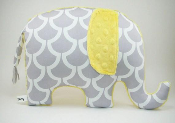 Modern Gray And Yellow Nursery Decor Elephant Pillow Grey