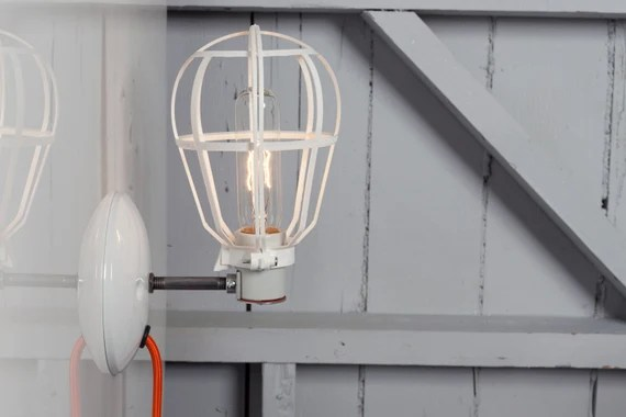 Industrial Lighting - Modern Cage Light - Wall Mount Sconce - Plug In