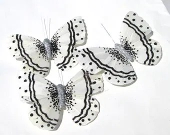 sparkly white velvet butterfly hair clip with by ziporgiabella