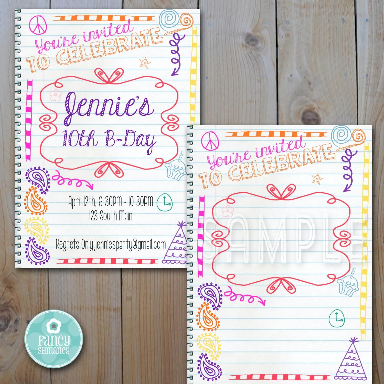 Printable Teen Birthday Invitation Instant Download Doodle
