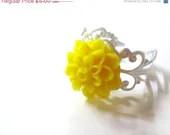 SALE Bright Yellow Chrysanthemum Flower Ring - Glamour365