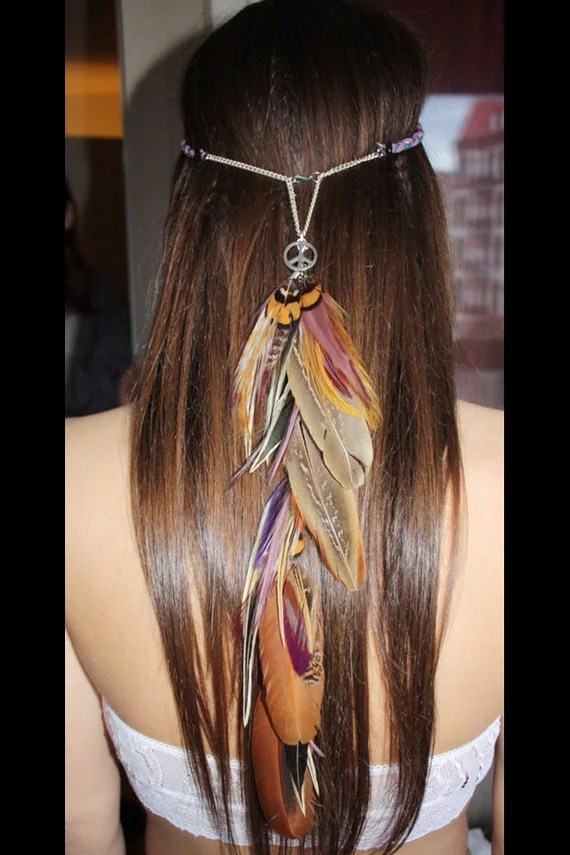 Items Similar To Lilac Fusion Hippie Feather Headband On Etsy