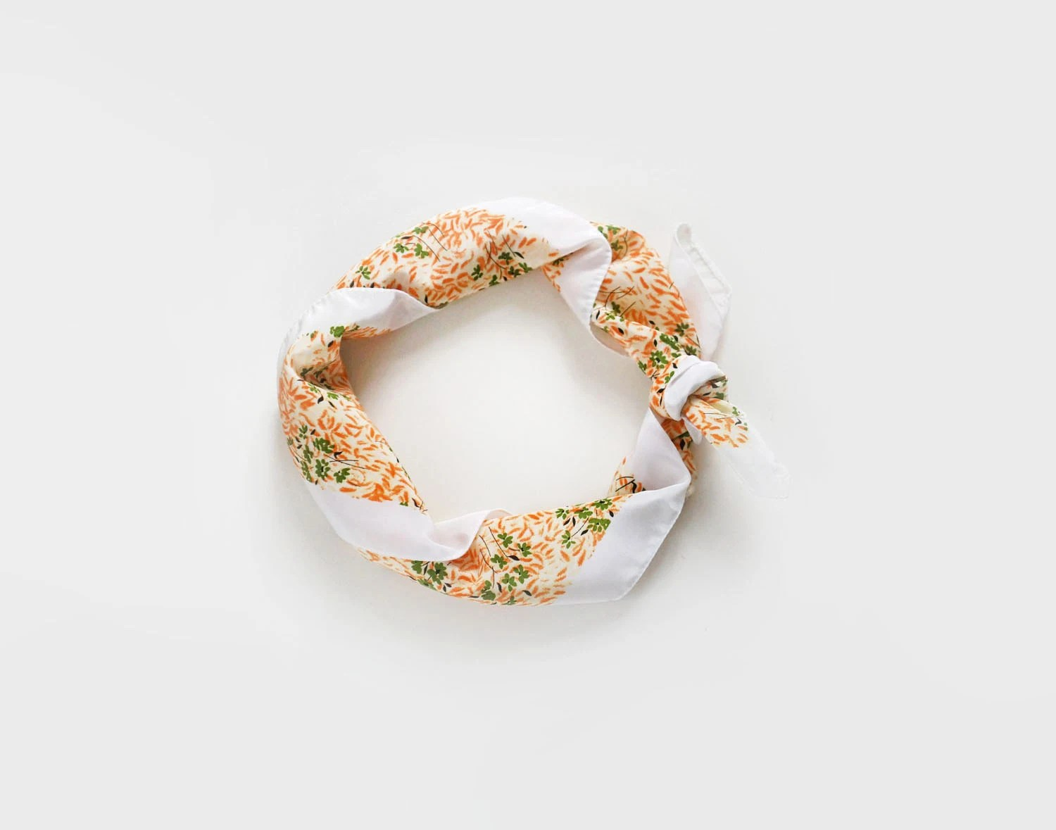 Vintage womens square scarf in peach orange, white and green, retro floral scarf - plot