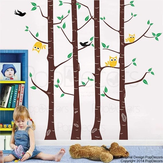 Birch Tree, Owl and Birds Wall Decal by PopDecors