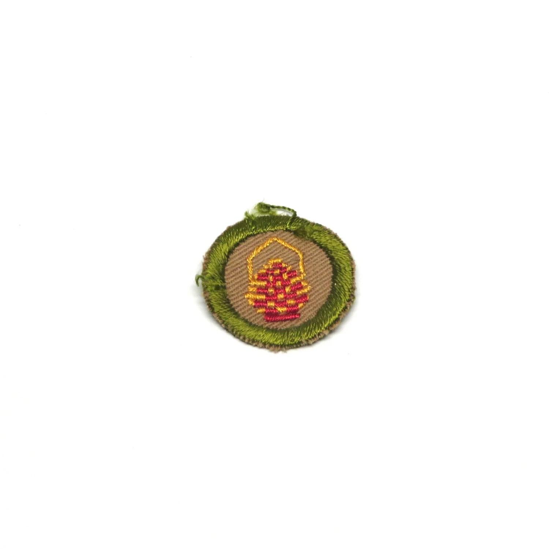 Vintage Merit Badge S Boy Scout Basketry Patch Khaki