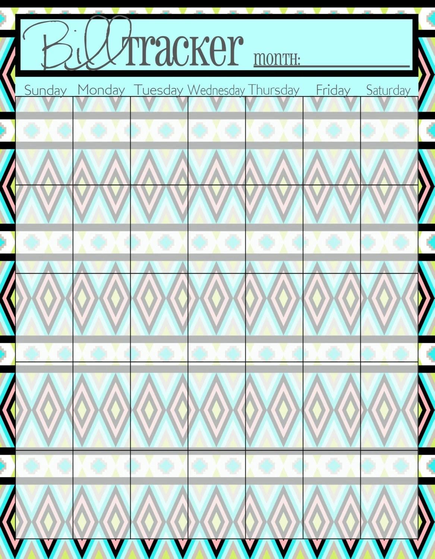 Monthly Calendar Bill Tracker