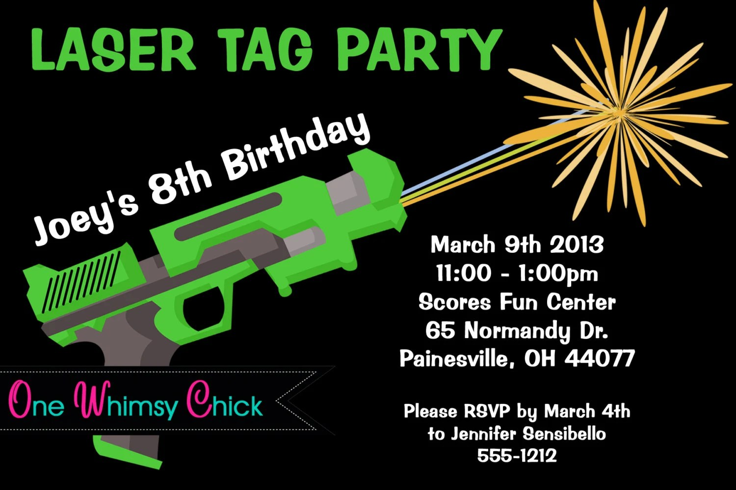 Laser Tag Birthday Invitation Printable Or Printed Laser